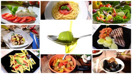 salad : collage including diverse traditional recipes of mediterranean cuisine