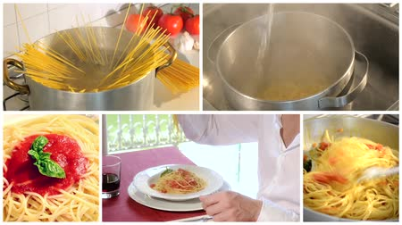 molho de tomate : Traditional italian recipe. Eating spaghetti with tomato sauce, parmesan cheese and basil. Collage.
