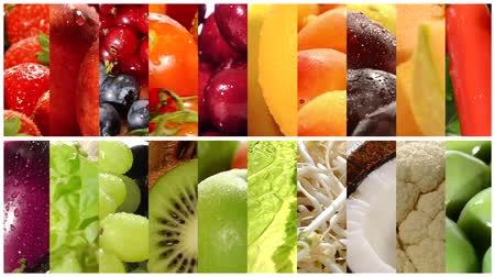 groenteman : close up van diverse groenten en fruit, montage