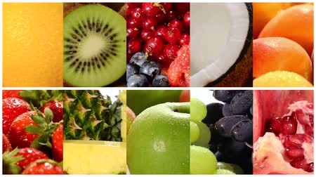 fresco : close up of diverse fruits, montage