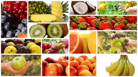 kolaj : collage including close ups of apples, citrus fruits, grapes, strawberries and other fresh fruits