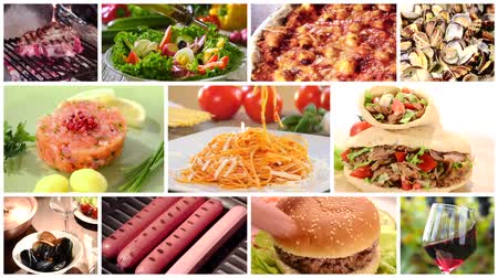 nutrição : a collage including international cuisine recipes and ingredients