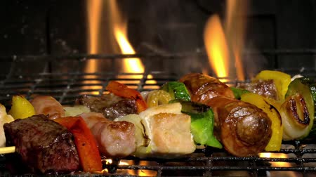 grelha : broiling meat skewers in a fireplace close up