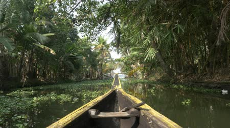 kano : canoe boat on backwaters of Kerala State, South India