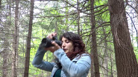 fényképész : young woman wildlife photographer in action Stock mozgókép