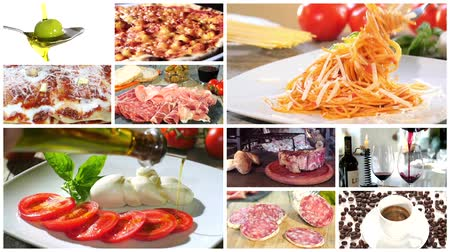 italian food : a montage including diverse italian food recipes