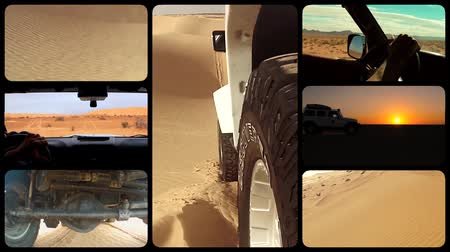 auto sportiva : camera car nel deserto del Sahara, collage Filmati Stock