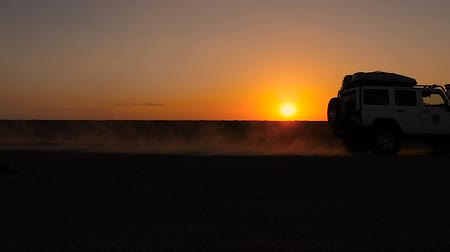 ралли : driving off-road car in the sahara desert at sunset Стоковые видеозаписи