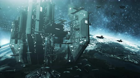 fleet : Animated fleet of futuristic spaceships and an impressive space station 4K Stock Footage