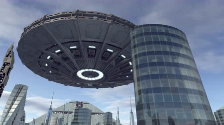 tajemnica : UFO flying above futuristic city 4K Wideo