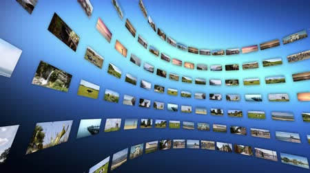 imagem digital gerada : Video wall with different touristic clips, rotating. Loop-able 4K Vídeos
