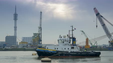fishing industry : ROTTERDAM, THE NETHERLANDS - JANUARY 21, 2015: Tow boat at work at the harbor of Rotterdam 4K