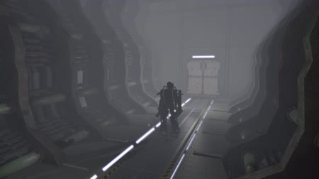 kitalálás : Animation of a futuristic mech walking through a corridor