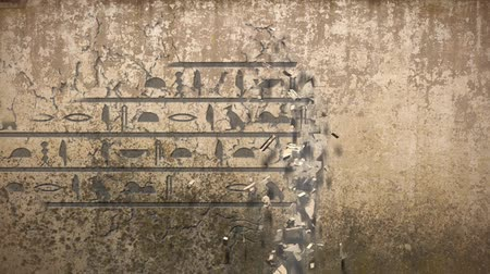 piramit : Hieroglyphs falls out of an old wall