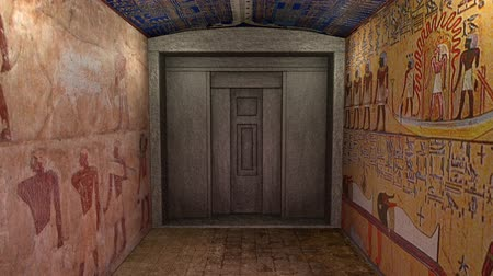 sarcophagus : A 3D animation of a tomb in ancient Egypt. A green screen behind a by