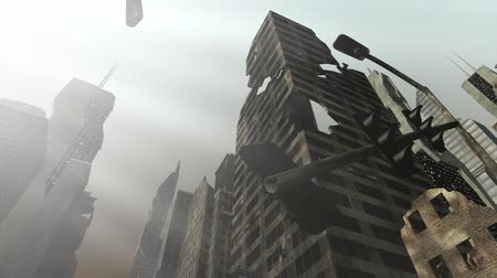 danger of collapse : Collapsing building in an animated city Stock Footage
