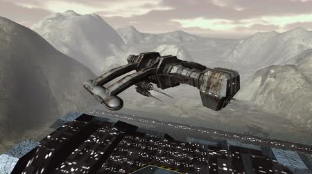 piramit : Spaceship takeoff from futuristic pyramid aerial