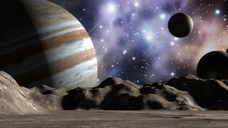 mystik : Jupiter and moons in space landscape