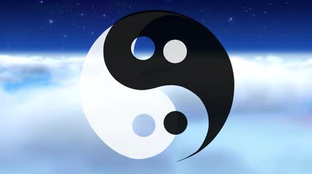 philosopher : Yin Yang symbol above clouds