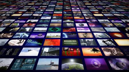 broadcast video : Video wall panorama perspective Stock Footage