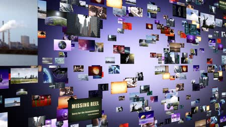 the media : Flight through animated video wall Stock Footage