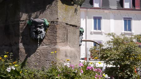 vosges : Fountain with face sculpture in Gerardmer France