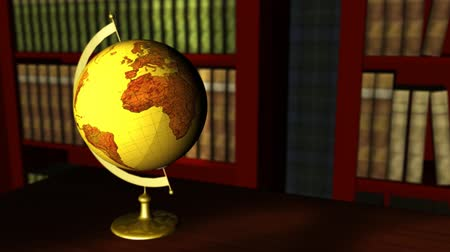 kütüphane : Old globe in a classic library Stok Video