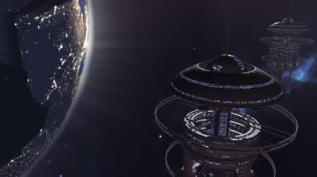 navio : Animated fleet of futuristic space stations 4K Vídeos