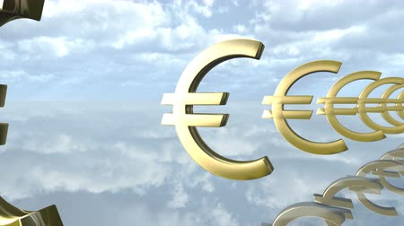 benefício : Animated golden Euro money signs loop-able. 3d rendering 4K