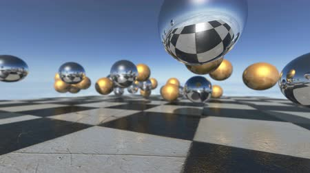 bronz : Animated surreal oprganic spheres falling down on a checkerboard. 3D rendering. 4K