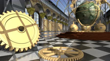 serseri : Animated mechanical devices in victorian interior. 3D rendering. 4K
