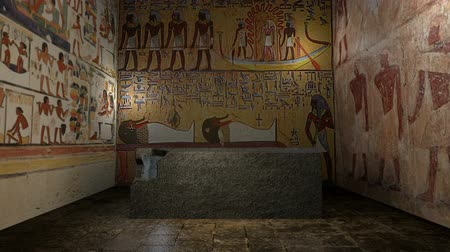 egyiptomi : Animated pharaoh tomb in ancient Egypt with closing doors. 3D rendering