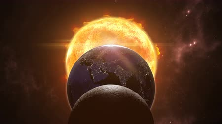 planeta : Animated sun, moon and earth globes. Eclipse cosmic scene. 3D rendering 4K