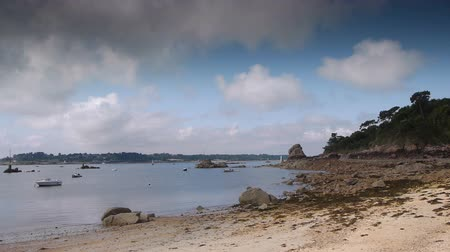 brittany : Shore of Ile de Brehat. Brittany France Stock Footage