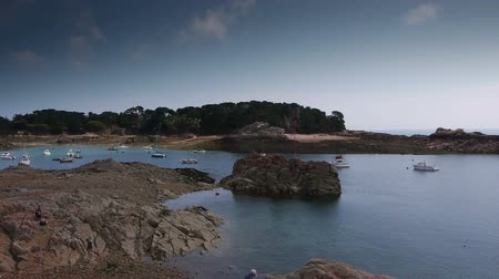 brittany : Natural horbor at Ile de Brehat PAN Stock Footage