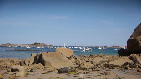 brittany : Port Blanc PAN. Brittany France Stock Footage