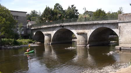 suisse : Bridge at Pont d Ouilly, Normandy France Stock Footage