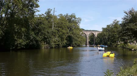 suisse : River and bridge at Clecy, Normandy France Stock Footage