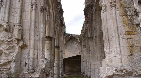 normandiya : Ruined wall details or abbey of Jumieges, Normandy France, TILT