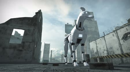 farpado : 3d animation of a futuristic robot dog in a ruined city. The mechanical artificial android animal is in a apocalyptic scene with ruined concrete and barbed wire.