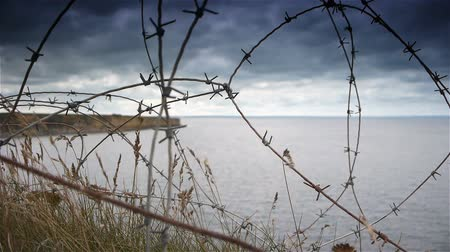 d day : Barbed wire at Utah Beach. World War 2 D-day, Normandy France Stock Footage
