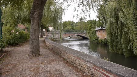 normandiya : River, bridge and park at Broglie, Normandy France