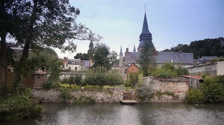 normandiya : Urbanscape or Broglie, Normandy France Stok Video