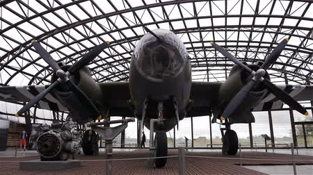 private museum : UTAH BEACH, FRANCE - AUGUST 15, 2018: B26 bomber airplane at Utah Beach D-day museum Stock Footage