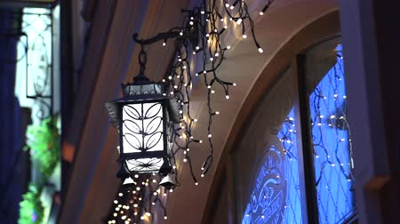 hanglamp : Vintage Hanging Lantern. Ramadan Mood At Night With Light Decoration In The Background.