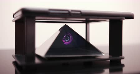 The Smartphone Designs A Hologram Of Digital Spiral For A Special Prism That Is On A Hologram Table. Prores 4k