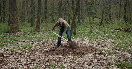 négyszögletes : A Man Is Digging A Grave For A Dead Dog. Throws A Shovel Pit Earth. Grave For The Dog. Prores, Slow Motion
