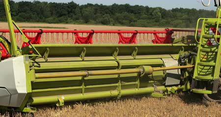 technics : Combine Harvester. Reapers. Modern Combine Harvester At The Harvest Of Cereal. Prores, Slow Motion