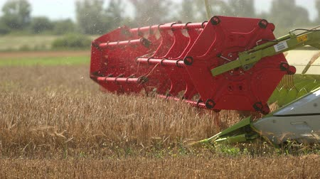 mechanization : Grain Harvesting, Agriculture - Close Up Harvester Combine Rotor. Prores, Slow Motion