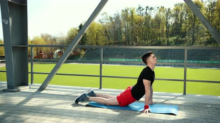 hatha : Handsome Young Man Doing Hamstring Stretch Exercise On Top Of A Mat At Stadium. Feet Lie On The Carpet Emphasis On The Hands And Raised Body . Prores, Slow Motion, 4k